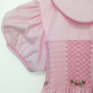 Solid Pink Dress with Collar and Sleeves