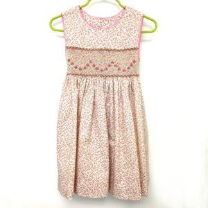 Pink Rosebuds on Ecru Dress