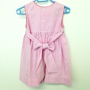 Pink and White Striped Cotton Seersucker Dress