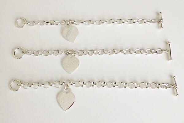 3 styles of sterling silver charm bracelet