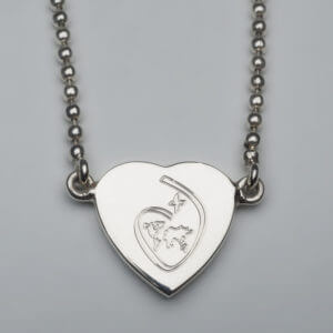 Sterling Silver Heart on a Fixed Bead Chain
