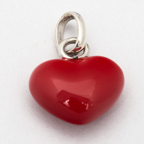 sterling silver and red enamel 22puff heart22 charm