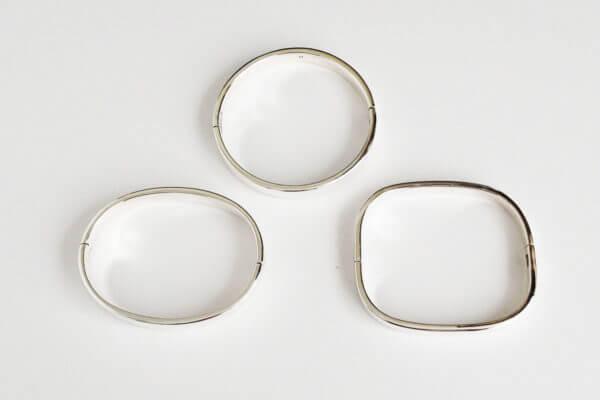 sterling silver bangles three shapes