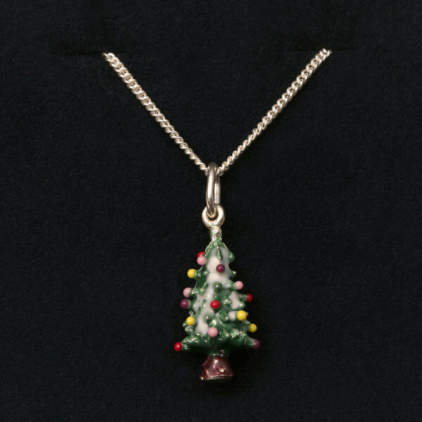 sterling and enamel Christmas tree pendant on chain
