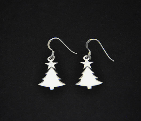 sterling silver Christmas tree with star earrings