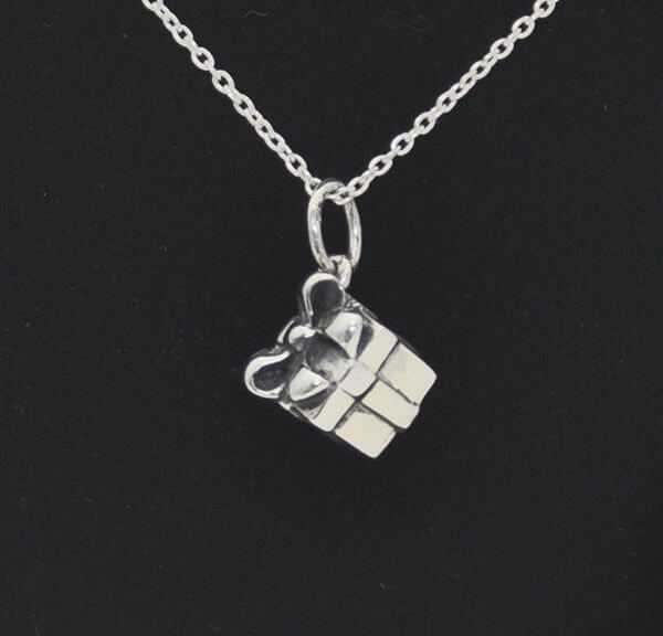 sterling silver gift package pendant on chain