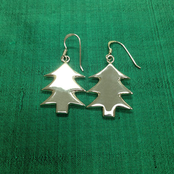 sterling silver Christmas tree shaped earrings
