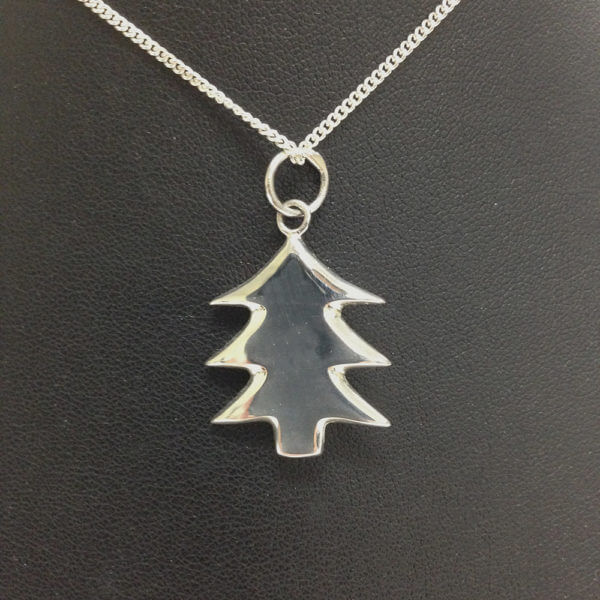 sterling silver Christmas tree shaped pendant on chain