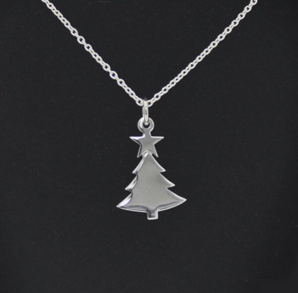 sterling silver Christmas tree with star pendant and chain pendant on chain