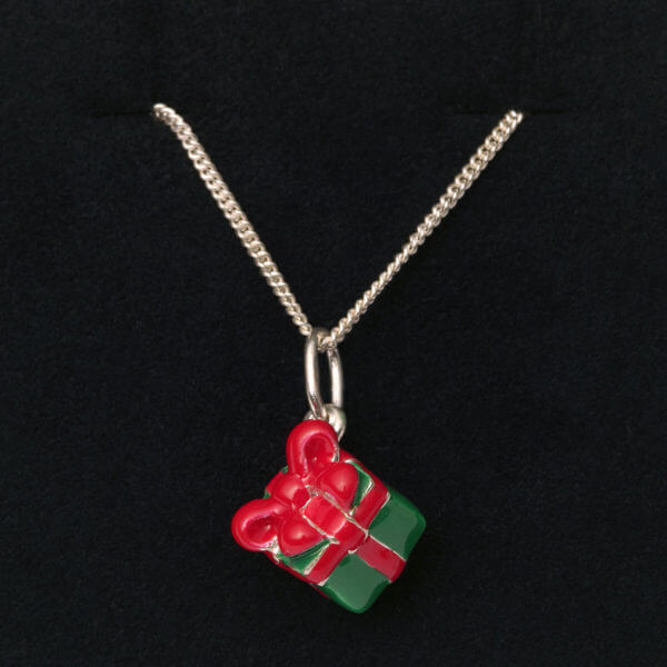 sterling silver and enamel gift box pendant on chain