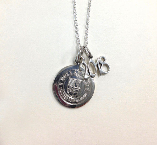 sterling silver round pendant charm with Bellarmine logo engraving and 2018 grad year charm