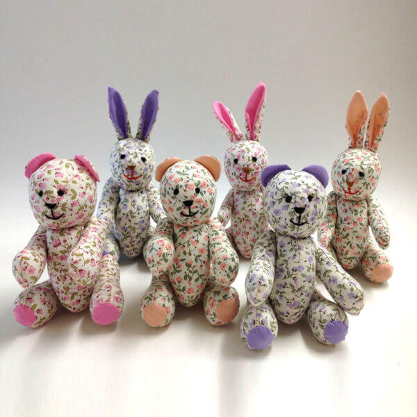 Pocket Pal®s bears and bunnies in pastel petite floral fabrics