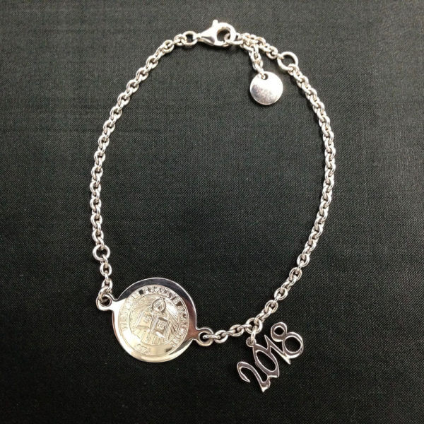 sterling silver charm'n chain bracelet with 2018 grad year charm attached
