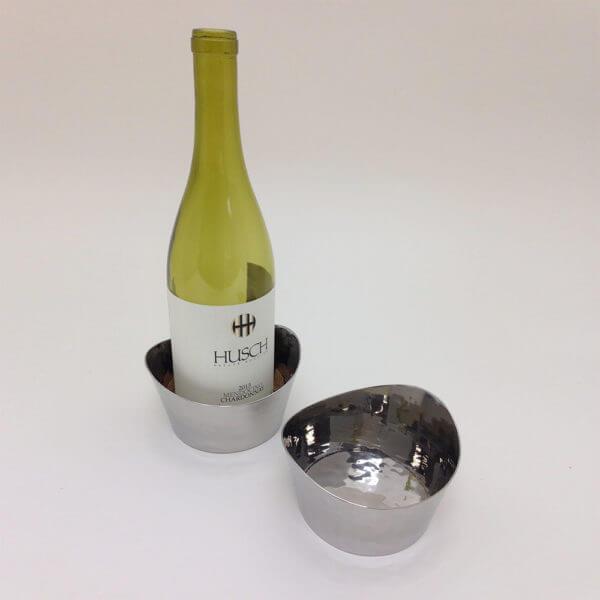 pair of stainless steel wine coasters