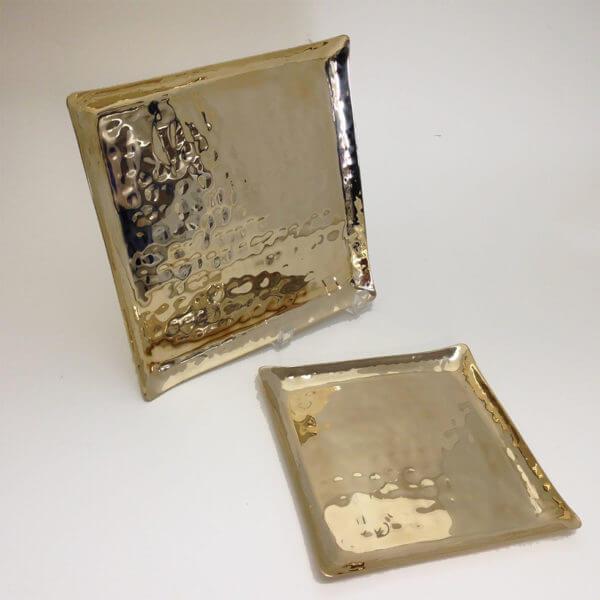 hand hammered bronze square trays