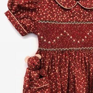 Crimson Floral Print Dress