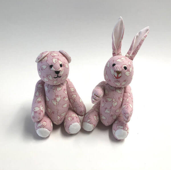 bear and bunny in pink chicks print