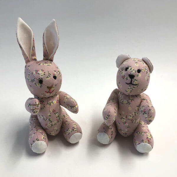 bear and bunny in floral heart print pattern