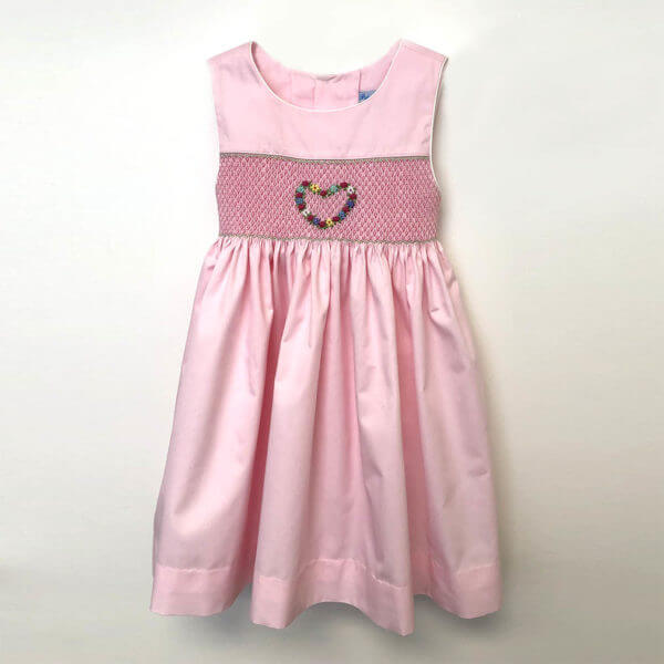 floral heart embroidery on sleeveless pink hand smocked girls' dresses