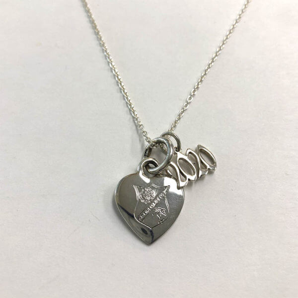Sterling silver 2020 charm with heart shaped pendant