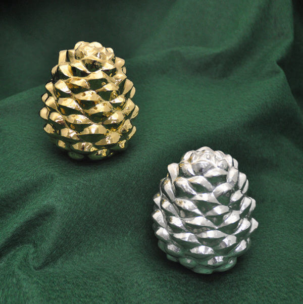Silver and gold-washed silver pine cones by Cambodian master silversmith Som Samay