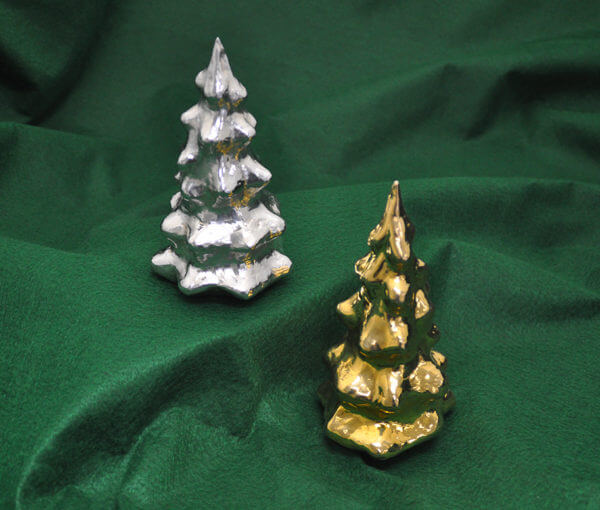 Silver and gold-washed silver Christmas trees by Cambodian master silversmith Som Samay