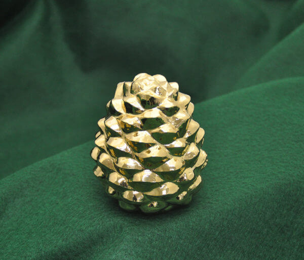 Gold-washed silver pine cone by Cambodian master silversmith Som Samay