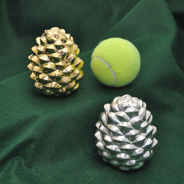 Silver and gold-washed pine cones by Cambodian master silversmith Som Samay