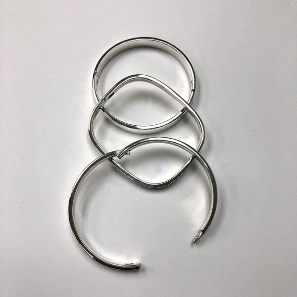 Sterling silver hinged bangle style bracelets