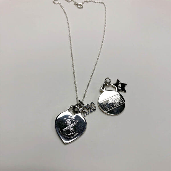 Large round charm with mini star charm; large heart charm with small 2020 grad year charm