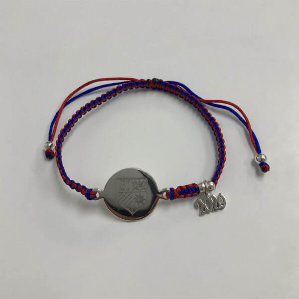 St. Ignatius College Prep spirit bracelet with mini grad year charm; blue and red woven adjustable band