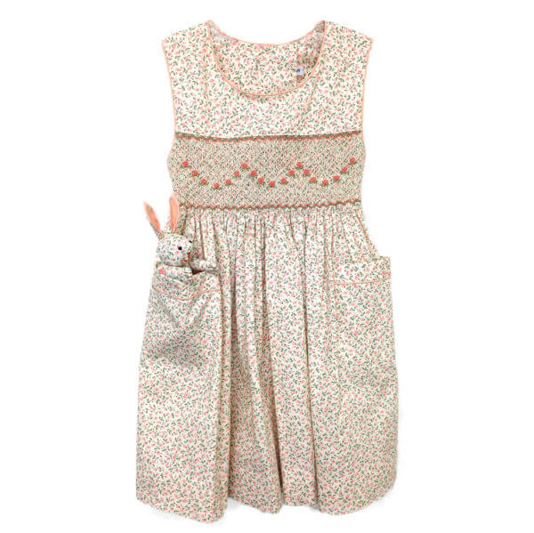 peach colored petite fleurs dress with bunny pocket pal®