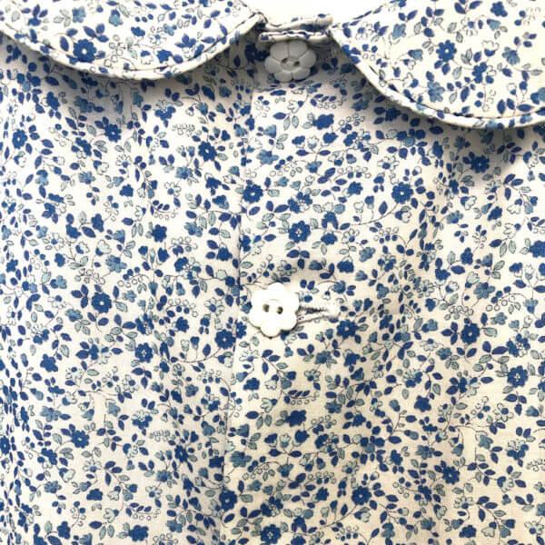 Blue Floral Cotton Lawn Dress back buttons detail