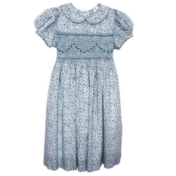 Blue Floral Cotton Lawn Dress with cap sleeves and Peter Pan collar front view