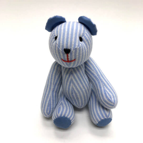 Blue and white striped seersucker pocket pal® bear