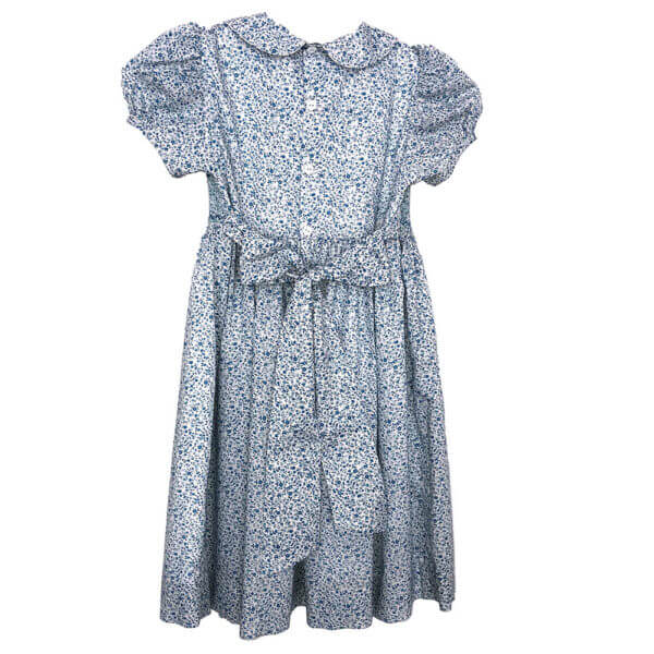 Blue Floral Cotton Lawn Dress with cap sleeves and Peter Pan collar back view