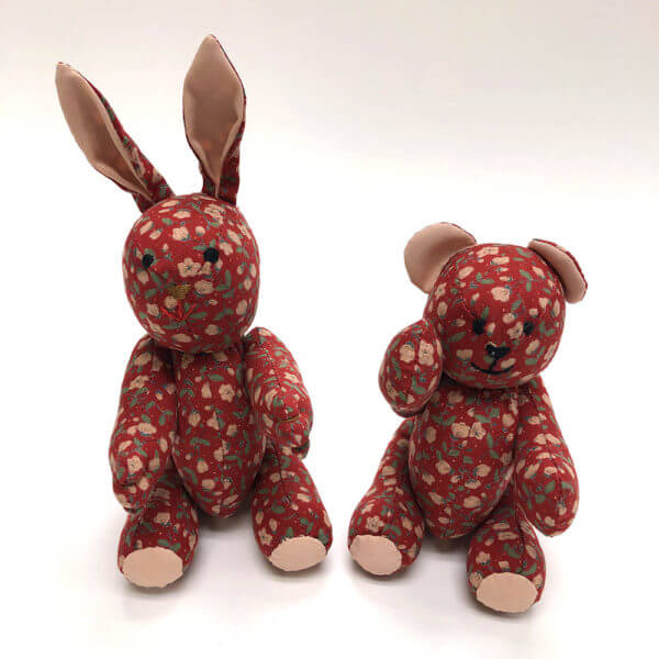 Dark red floral pocket pals® - bunny and bear