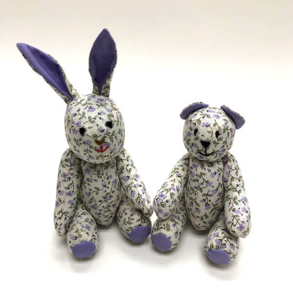 Lavender floral pocket pals® - bunny and bear