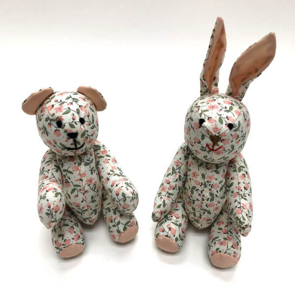 Peaches and cream floral pocket pals® - bear and bunny