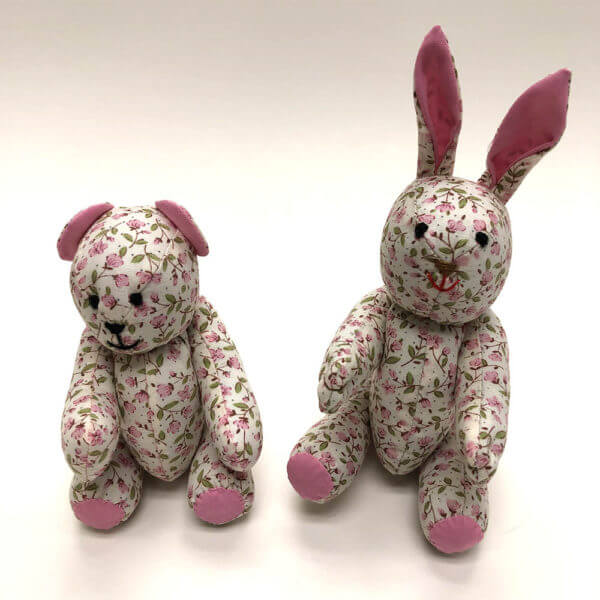 Pink rosebud pocket pals® - bear and bunny