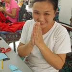 sewing team member at Fatima workshop