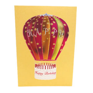 Paula Skene Designs Happy Birthday Hot Air Balloon – gold