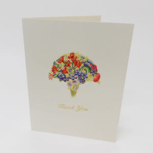 Paula Skene Designs Orange and Blue Bouquet 'Thank You' note card