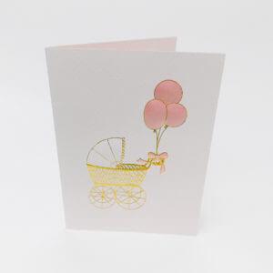 Paula Skene Designs Pink Baby Buggy card