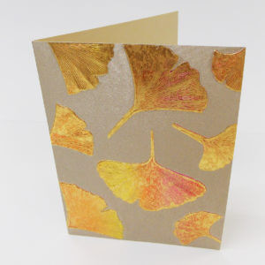 Paula Skene Designs gingko leaves note card – bronze