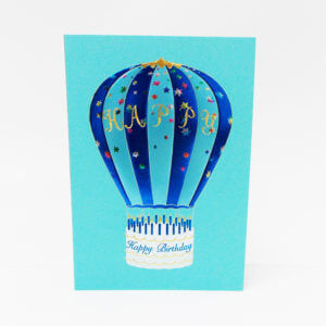 Paula Skene Designs Happy Birthday Hot Air Balloon – blue