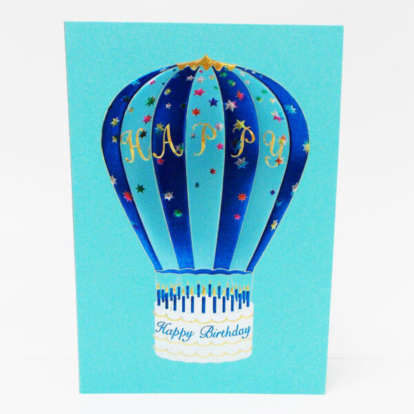 Hot Air Balloon blue 6x6 inchesIII