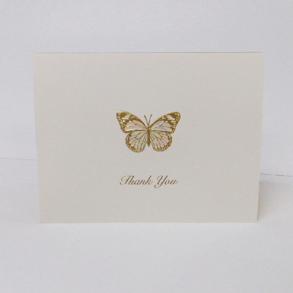 gold butterfly Thank you card 1000 pixels