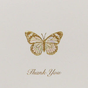 Paula Skene Designs gold foil embossed butterfly 'Thank You' note card