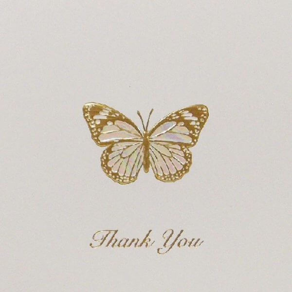 gold butterfly Thank you card closeup1000 pixels